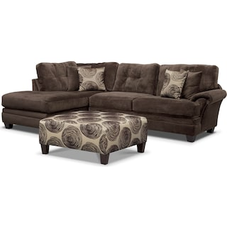 Cordelle 2-Piece Sectional with Left-Facing Chaise + FREE OTTOMAN - Chocolate
