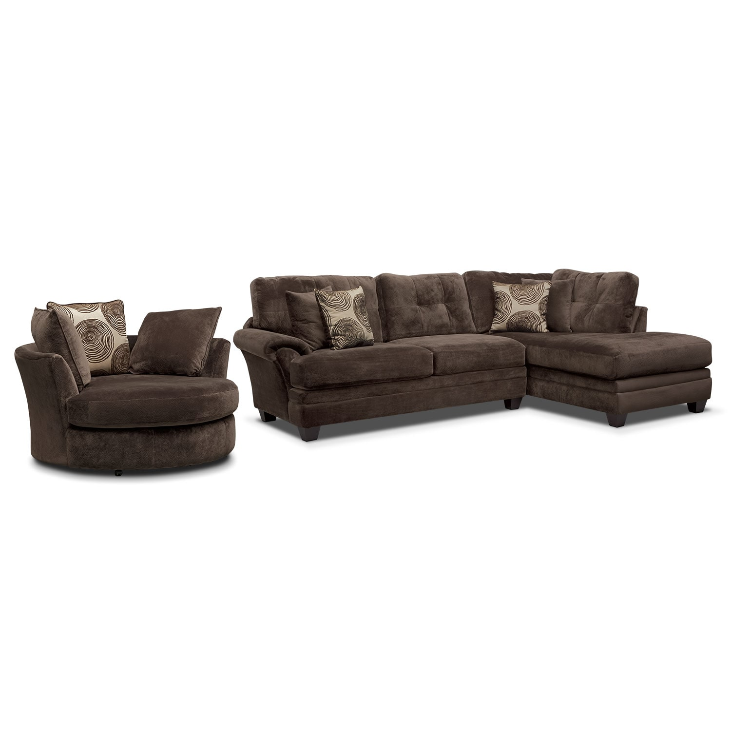 Living Room Furniture - Cordelle 2-Piece Right-Facing Chaise Sectional and Swivel Chair Set - Chocolate