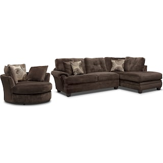 Cordelle 2-Piece Sectional with Right-Facing Chaise and Swivel Chair Set - Chocolate