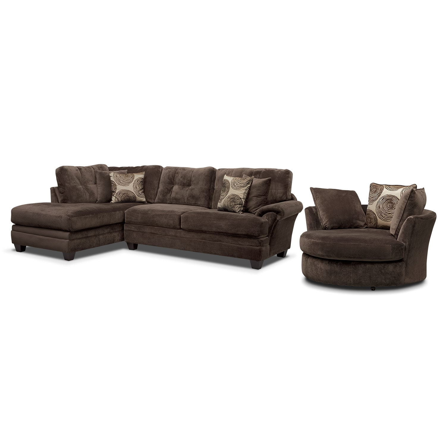 Living Room Furniture - Cordelle 2-Piece Left-Facing Chaise Sectional and Swivel Chair Set- Chocolate