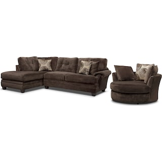 Cordelle 2-Piece Left-Facing Chaise Sectional and Swivel Chair Set- Chocolate