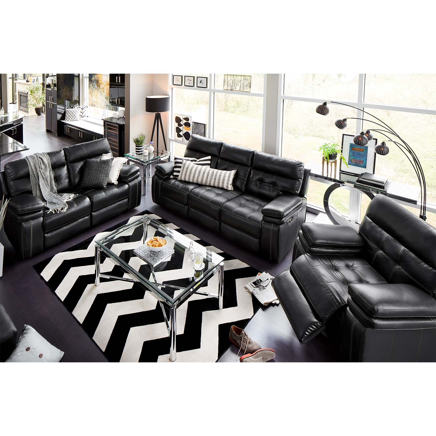 Living Room Furniture - Brisco Black 3 Pc. Power Reclining Living Room