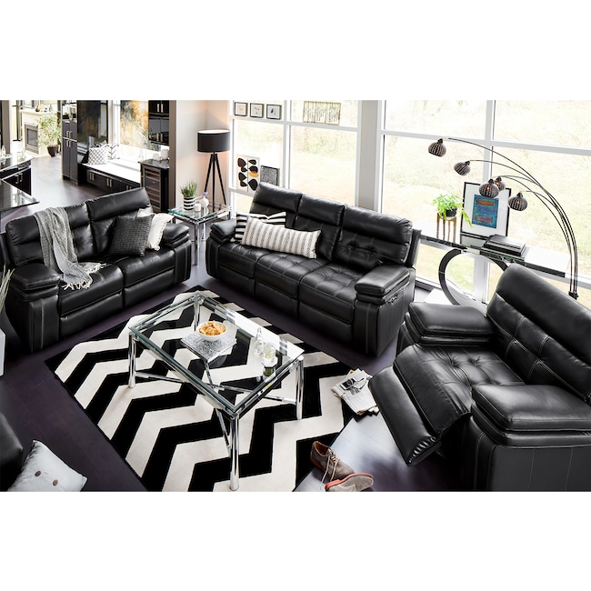 Living Room Furniture - Brisco Power Reclining Sofa, Reclining Loveseat and Glider Recliner Set - Black