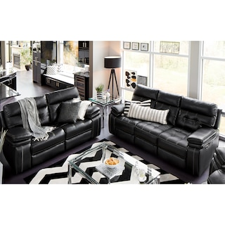 Brisco Power Reclining Sofa and Reclining Loveseat Set - Black