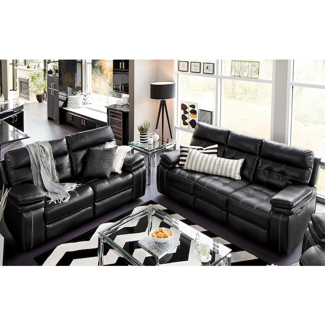 Living Room Furniture - Brisco Power Reclining Sofa and Reclining Loveseat Set - Black