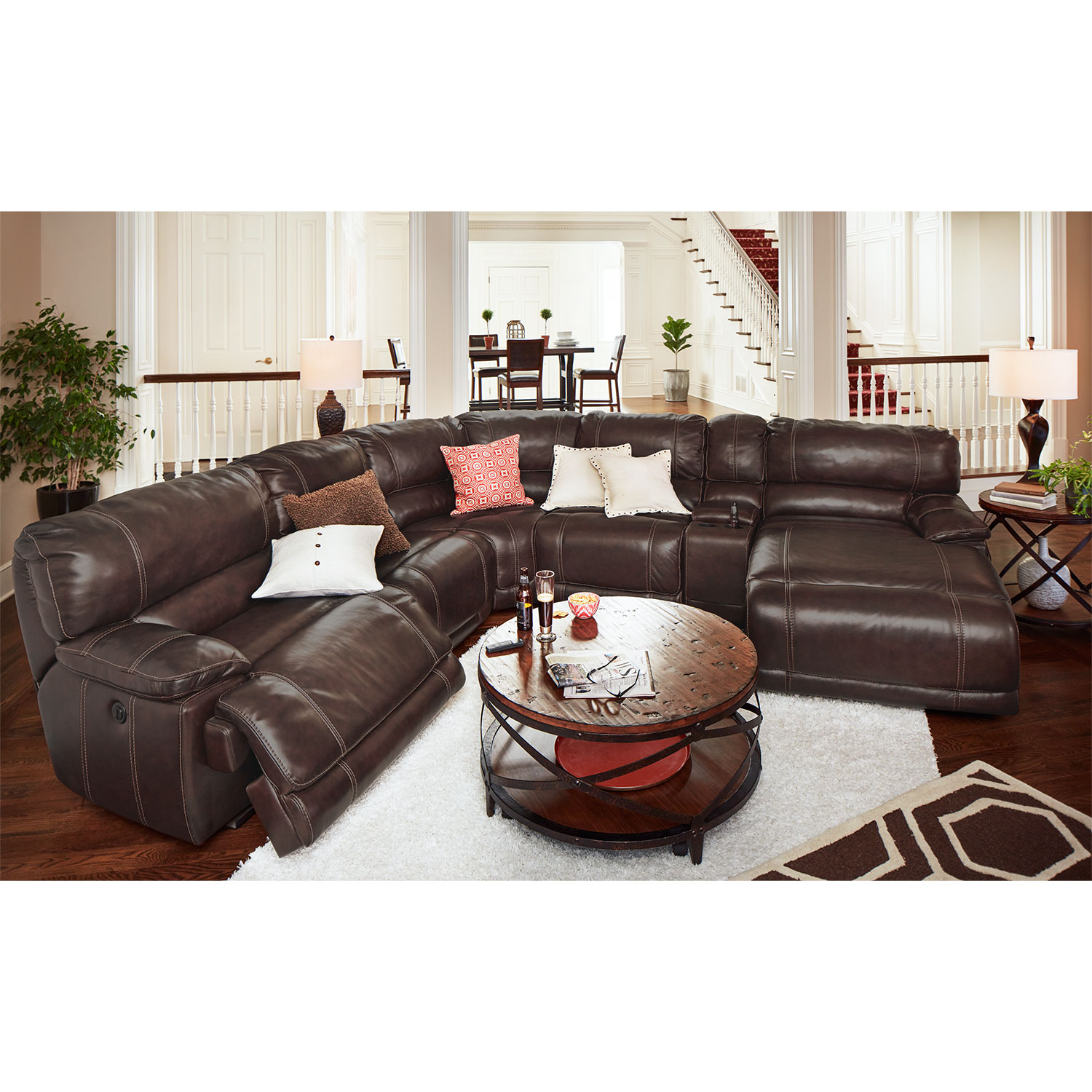 Recliner sectional lugar 3 piece bonded leather reclining for Brighton taupe 3 piece chaise and sofa set