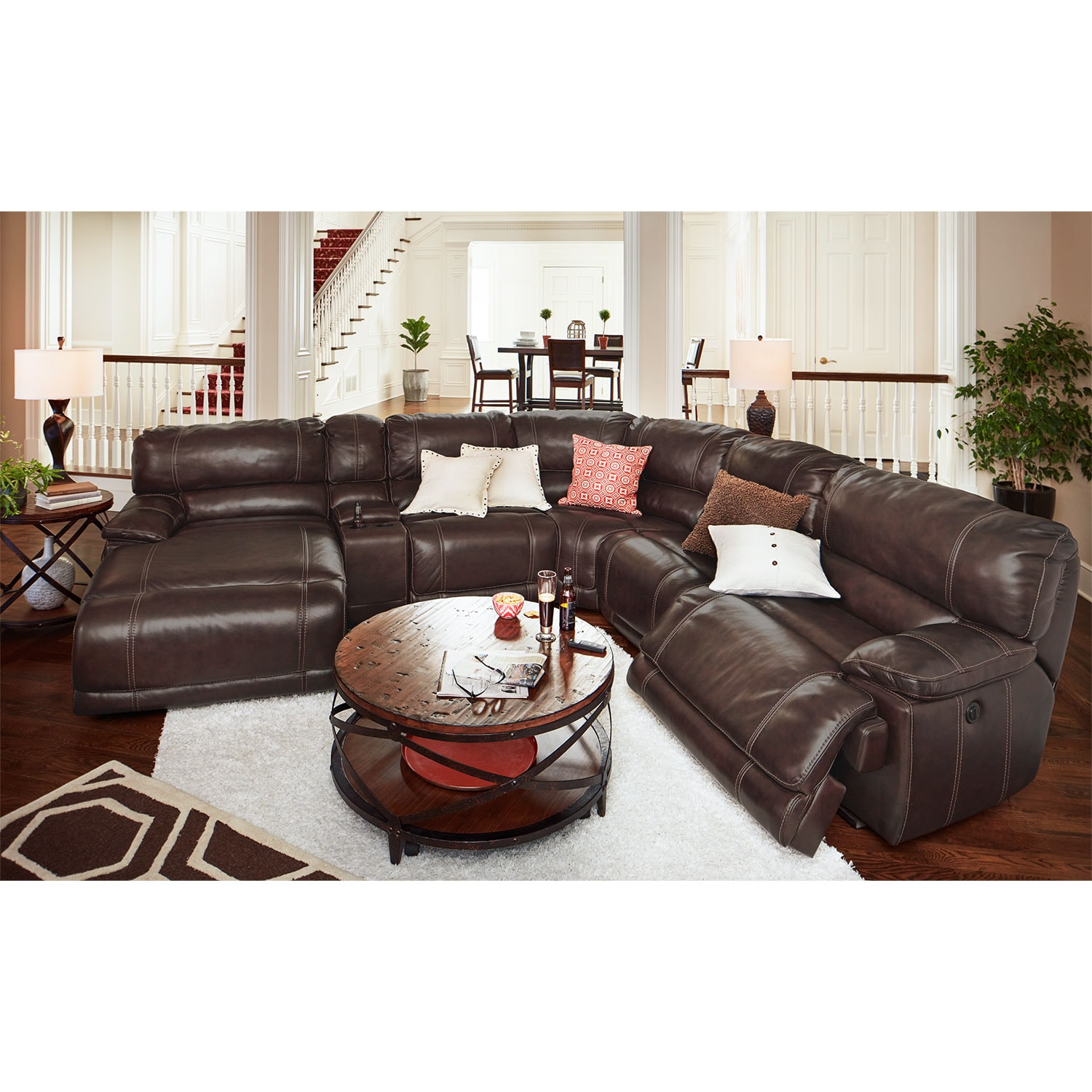 St. Malo 6-Piece Power Reclining Sectional with Left-Facing Chaise - Brown by One80  sc 1 st  American Signature Furniture : brown reclining sectional - Sectionals, Sofas & Couches