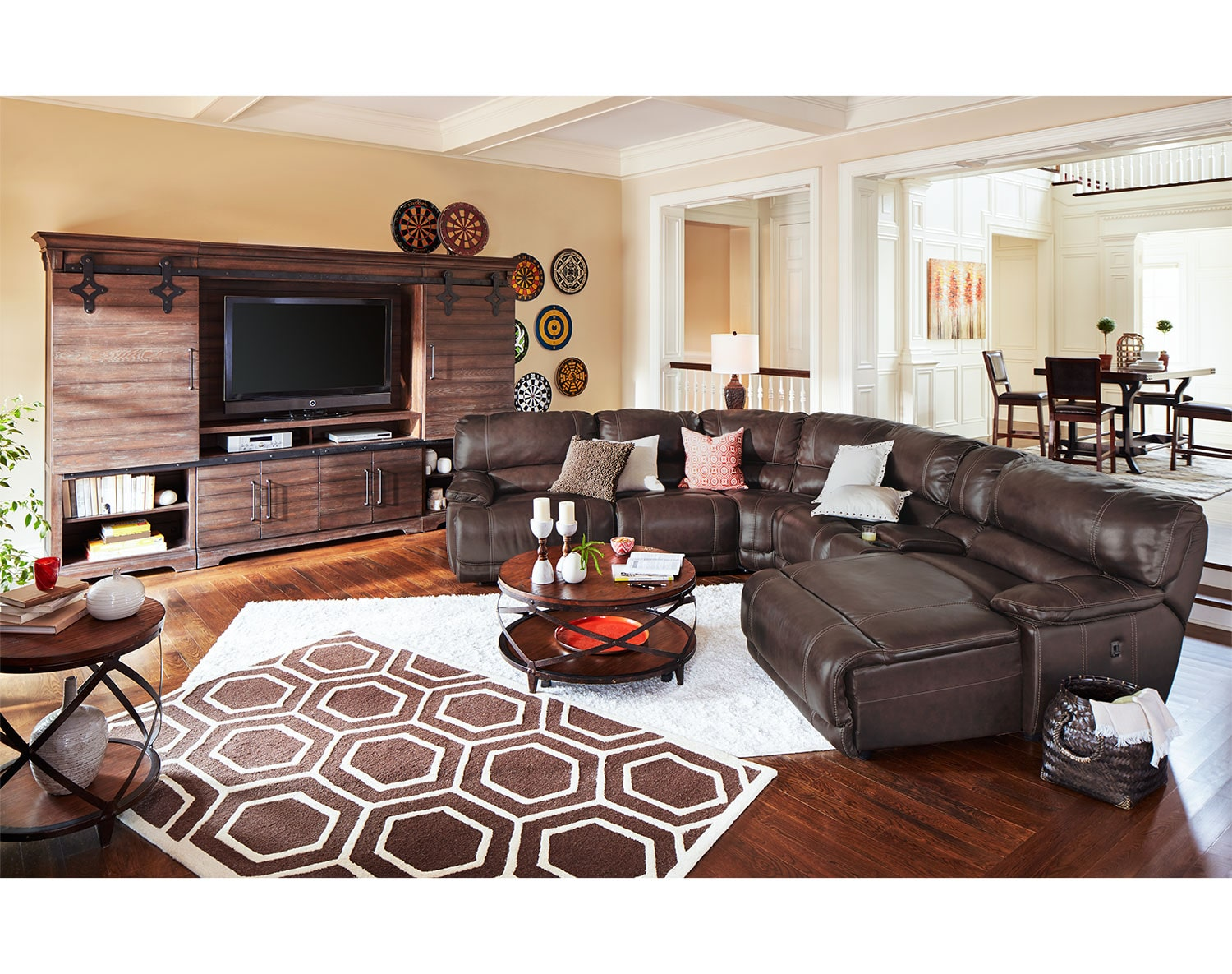 The St  Malo Collection   Brown. Leather Living Room Furniture   Value City Furniture