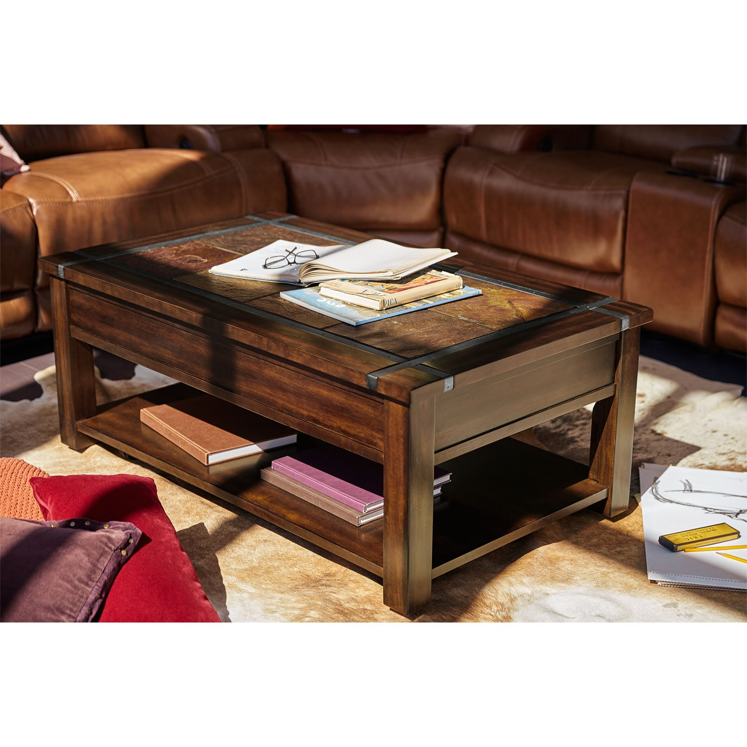 Slate ridge lift top cocktail table cherry american signature furniture Coffee table cherry