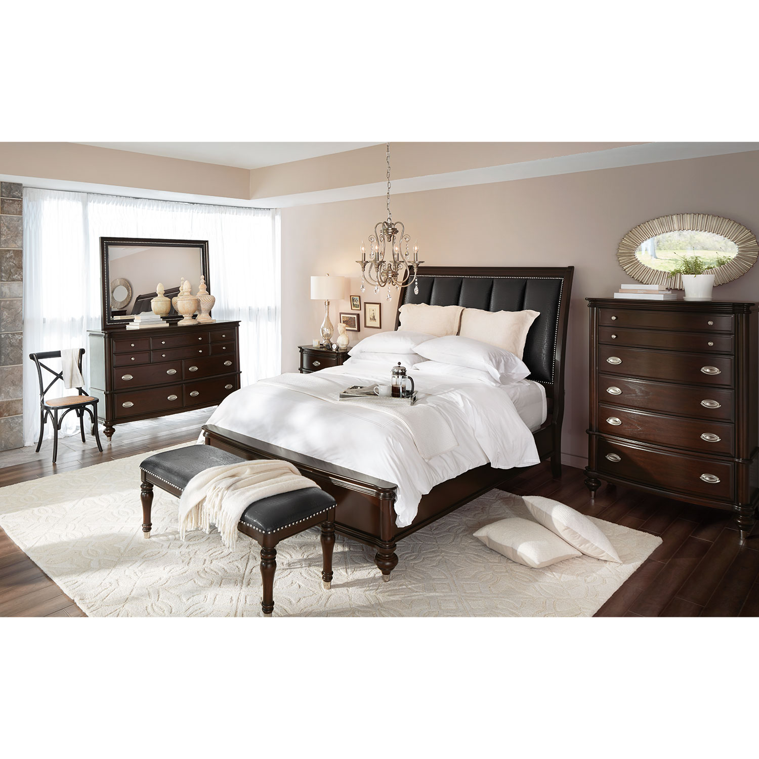 piece sam levitz four finish queen furniture rustic plank product set bedroom