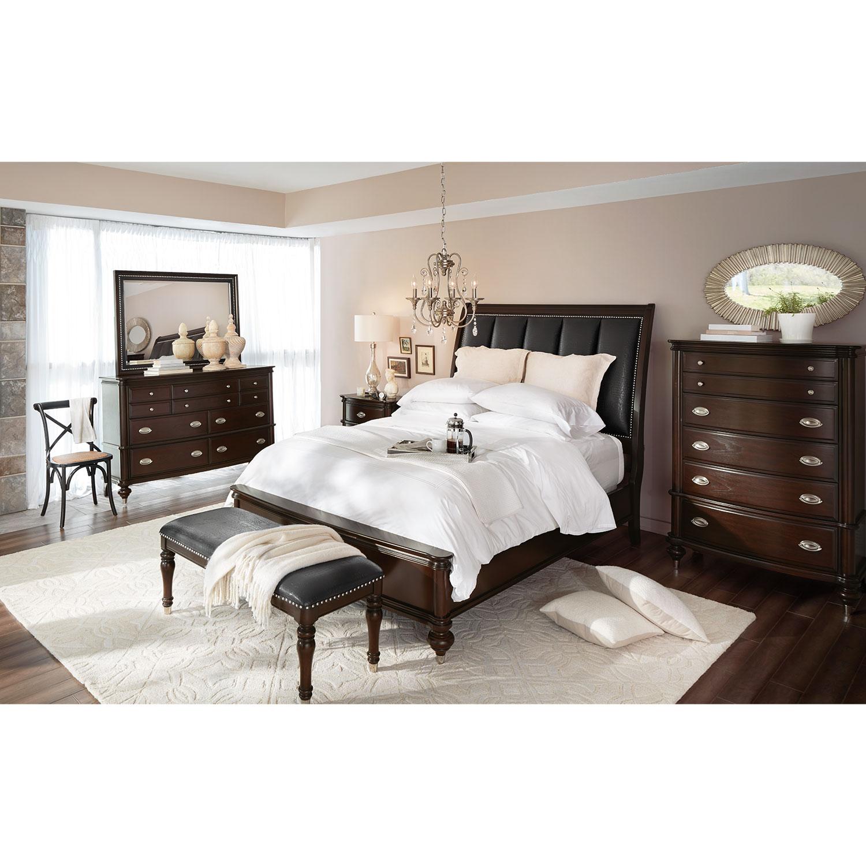 Esquire 6-Piece Queen Bedroom Set - Merlot | American Signature ...