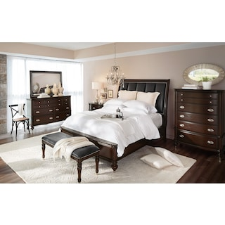 Esquire 6-Piece King Bedroom Set with Nightstand, Dresser and Mirror - Merlot