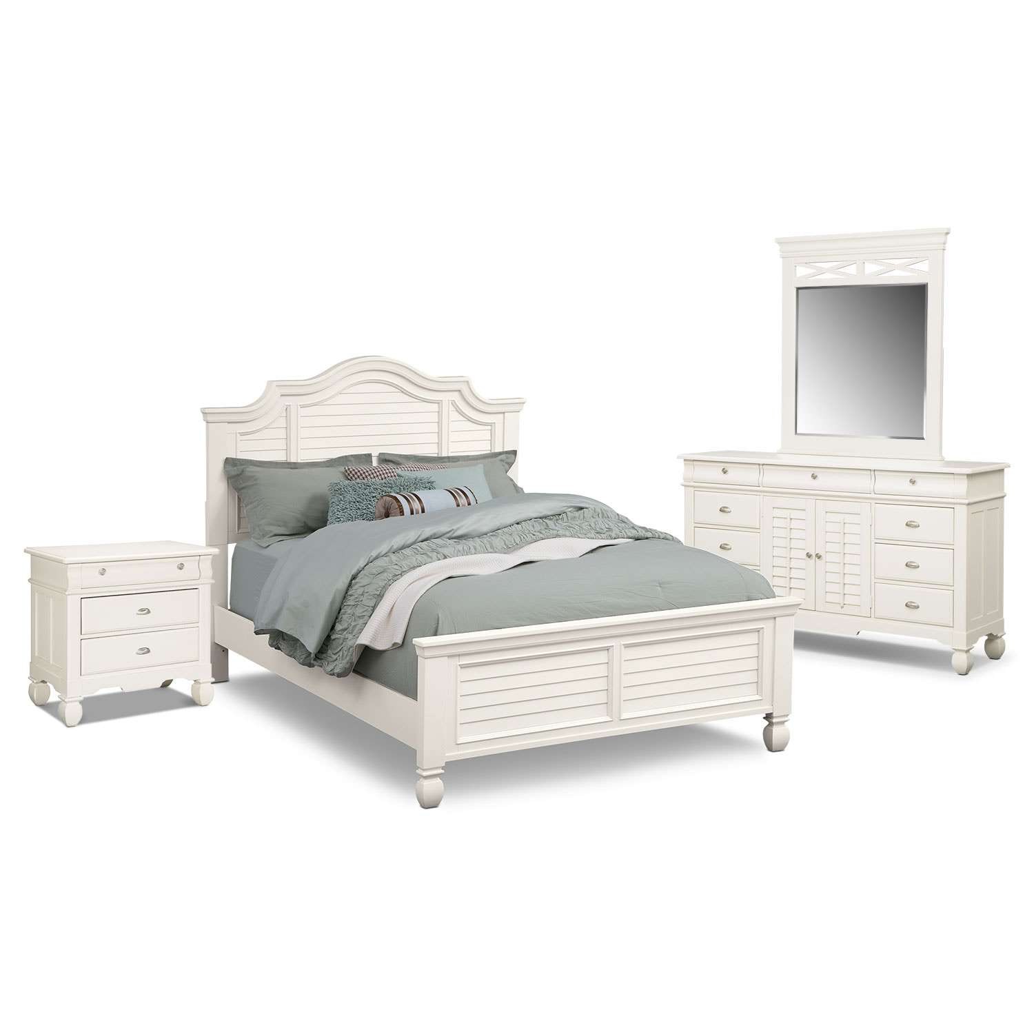 Plantation Cove 6-Piece Queen Panel Bedroom Set - White