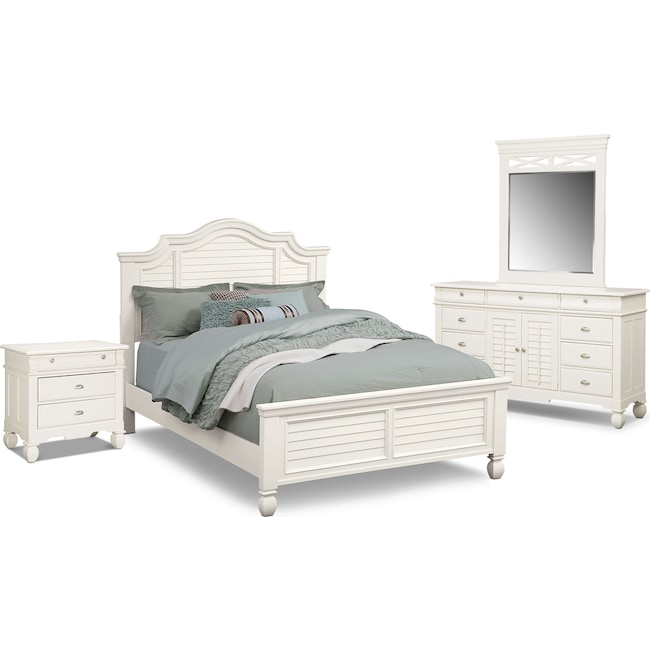 Bedroom Furniture - Plantation Cove 6-Piece Queen Panel Bedroom Set - White