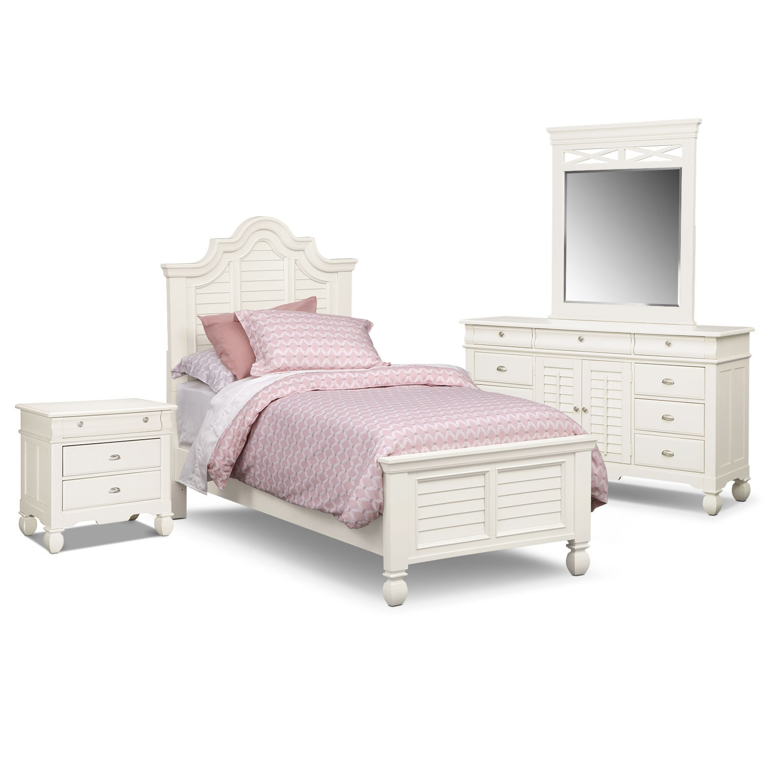Plantation Cove 6-Piece Twin Bedroom Set - White