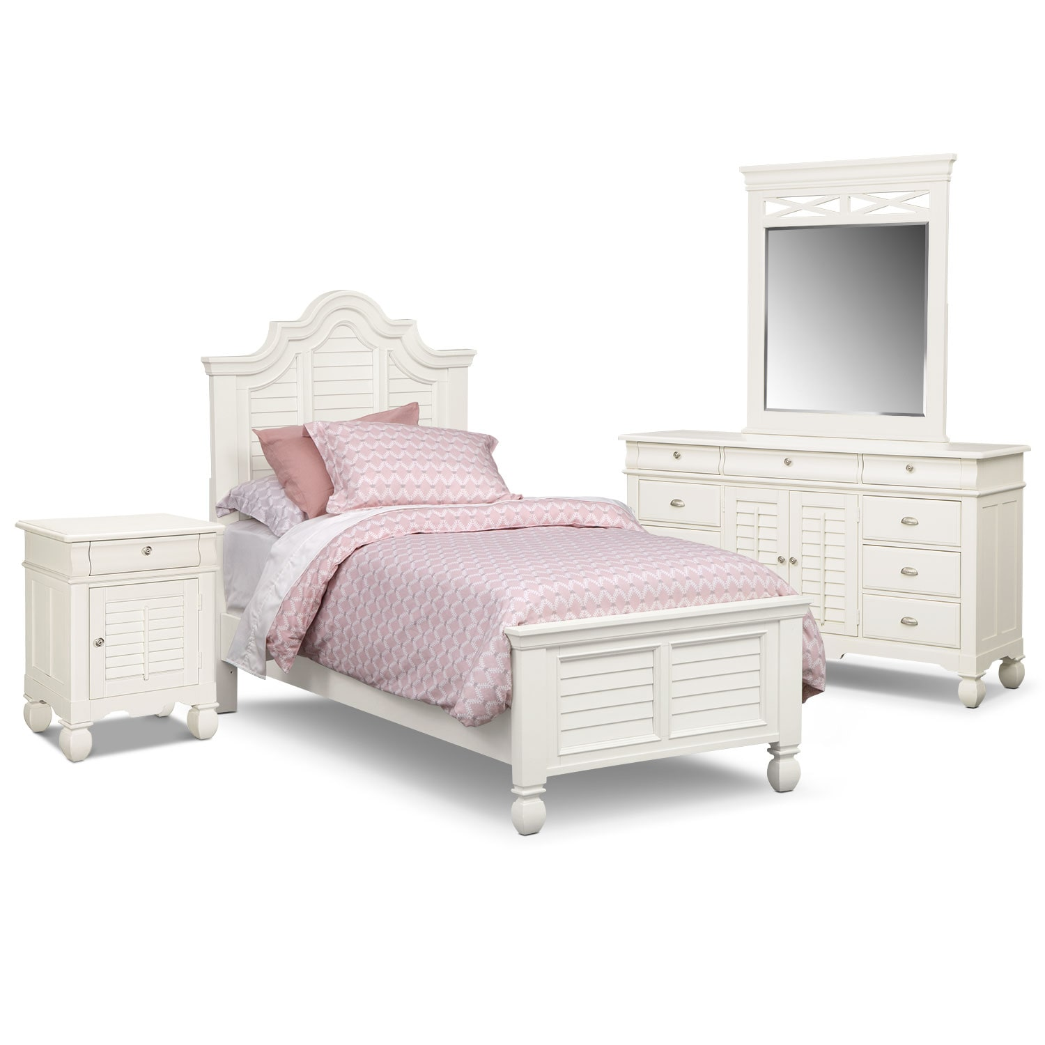 Kids Furniture - Plantation Cove 6-Piece Twin Bedroom Set with Door Nightstand - White