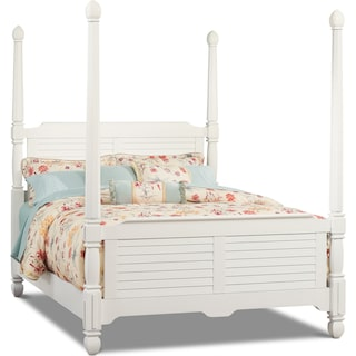 Plantation Cove Queen Poster Bed - White
