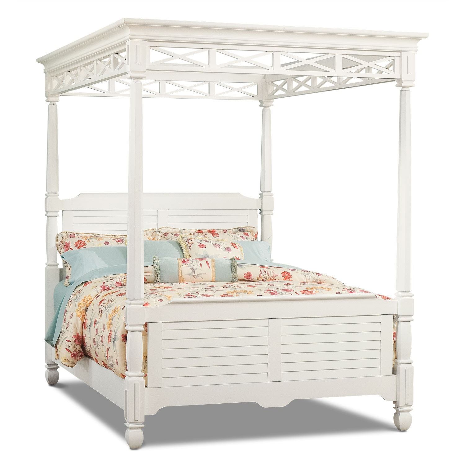 Bedroom Furniture - Plantation Cove White Canopy King Bed