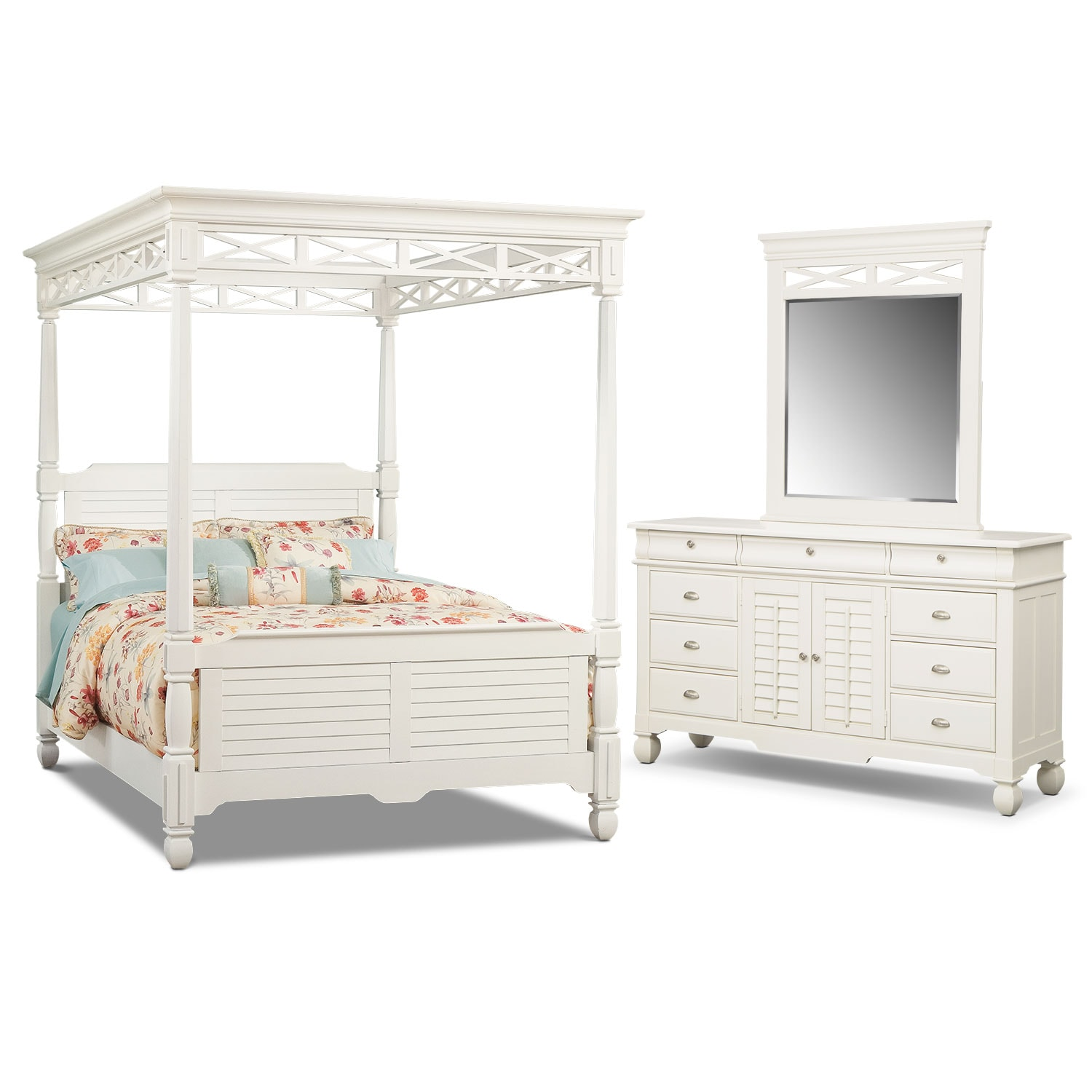 Bedroom Furniture - Plantation Cove 5-Piece Queen Canopy Bedroom Set - White