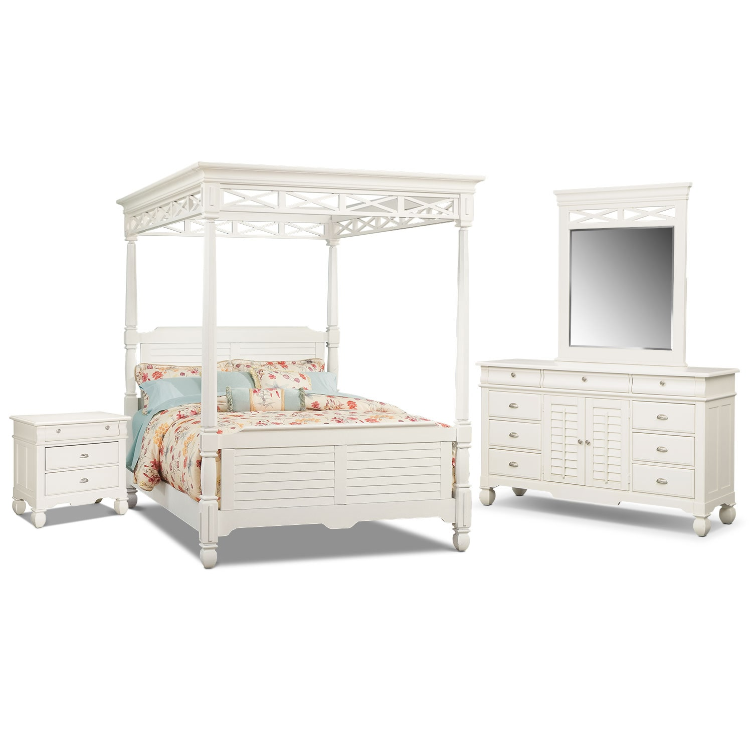 Bedroom Furniture - Plantation Cove Canopy 6-Piece Bedroom Set w/Drawer Nightstand - White
