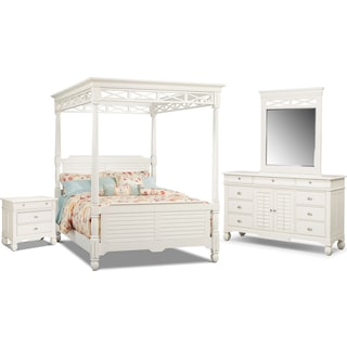 Plantation Cove Canopy 6-Piece Bedroom Set w/Drawer Nightstand - White