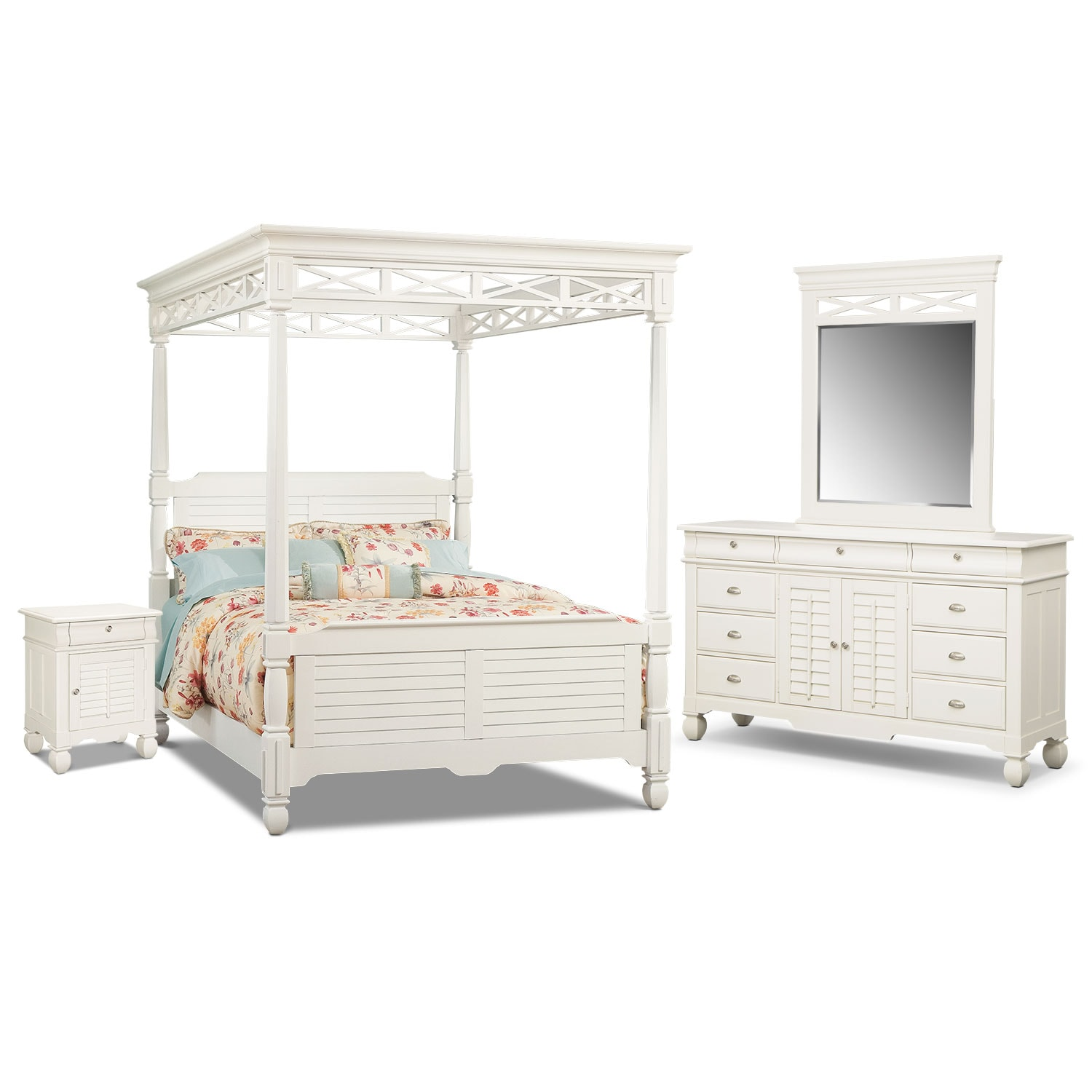 Bedroom Furniture - Plantation Cove Canopy 6-Piece Bedroom Set w/Door Nightstand - White