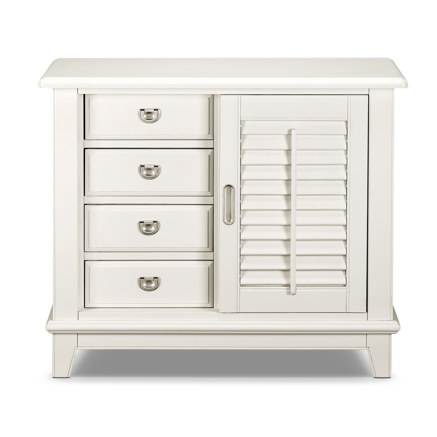 Click to change image.  sc 1 st  American Signature Furniture & Plantation Cove Sliding Door Chest - White | American Signature ...