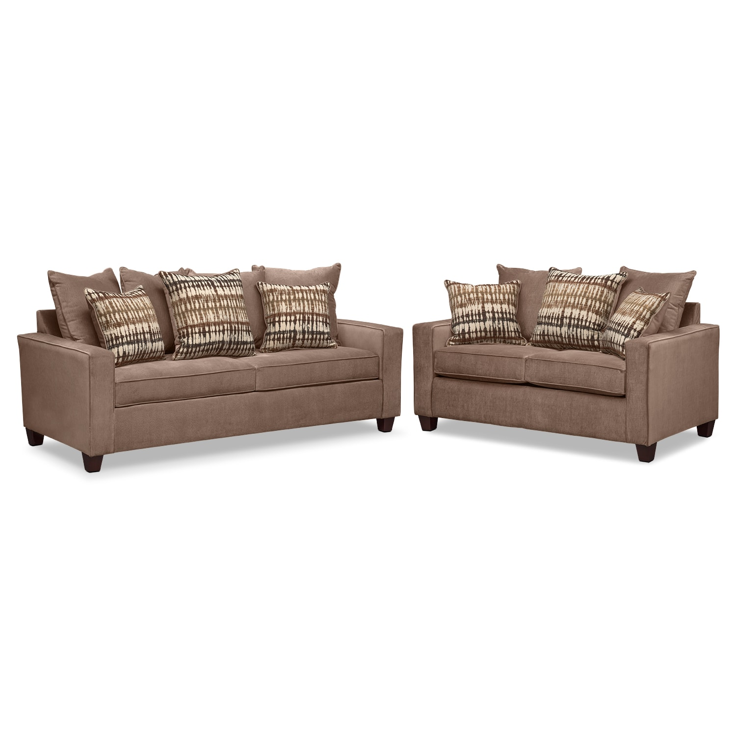 Bryden Queen Memory Foam Sleeper Sofa and Loveseat Set - Chocolate