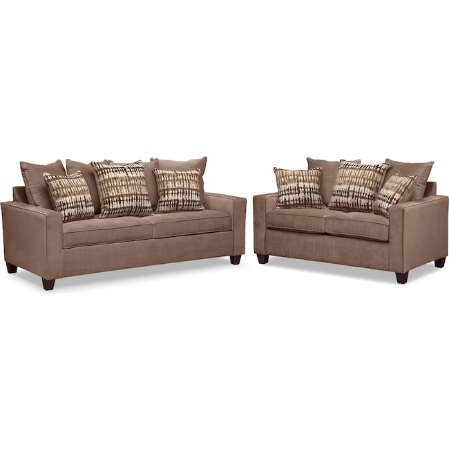 Living Room Furniture - Bryden Sofa and Loveseat Set - Chocolate
