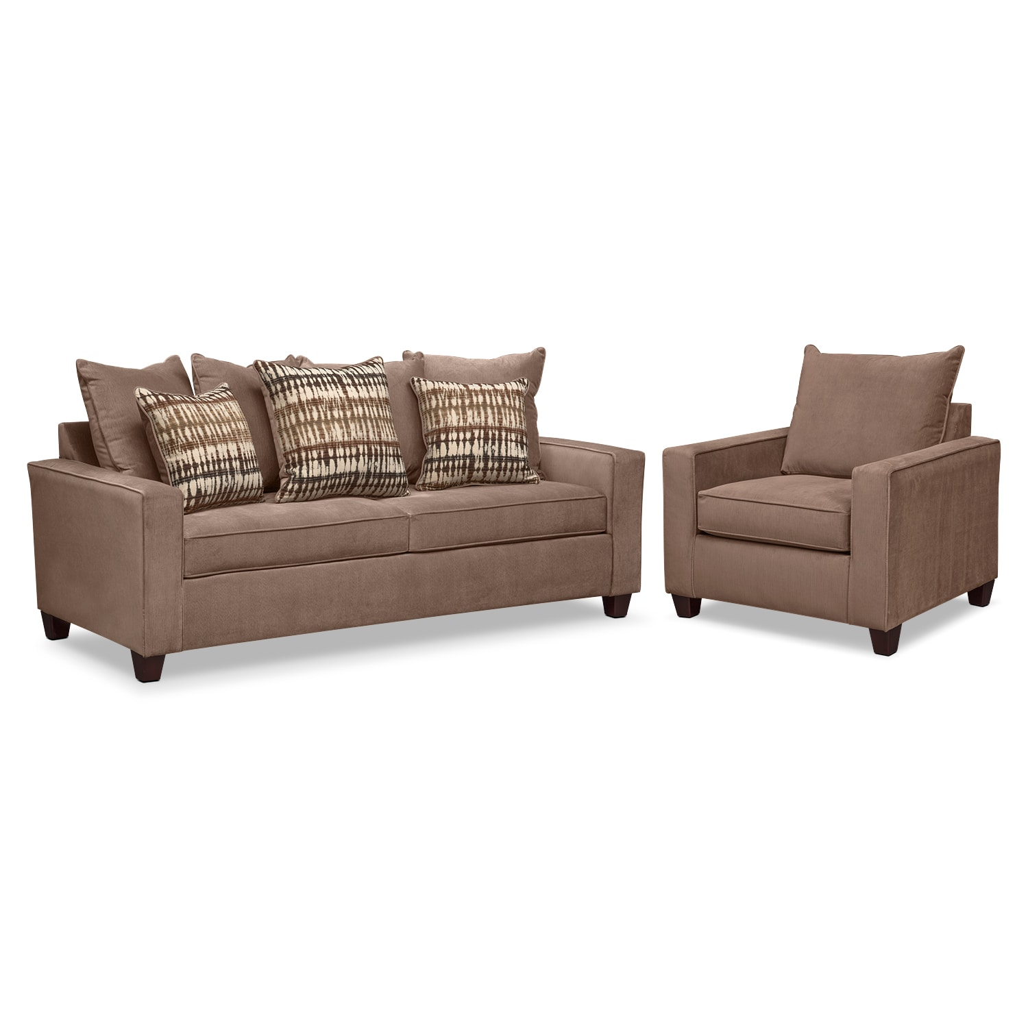 Living Room Furniture - Bryden Queen Memory Foam Sleeper Sofa and Chair Set - Chocolate