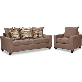 Bryden Queen Memory Foam Sleeper Sofa and Chair Set - Chocolate