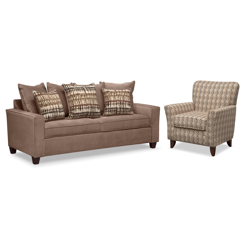 Living Room Furniture - Bryden Queen Memory Foam Sleeper Sofa and Accent Chair Set