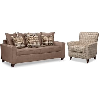 Bryden Queen Innerspring Sleeper Sleeper Sofa and Accent Chair Set - Chocolate