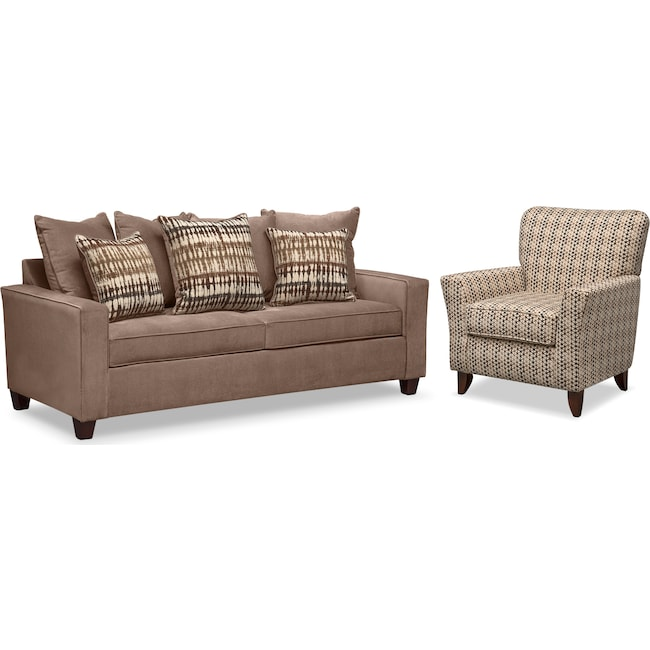 Living Room Furniture Bryden Queen Innerspring Sleeper Sofa And Accent Chair Set Chocolate
