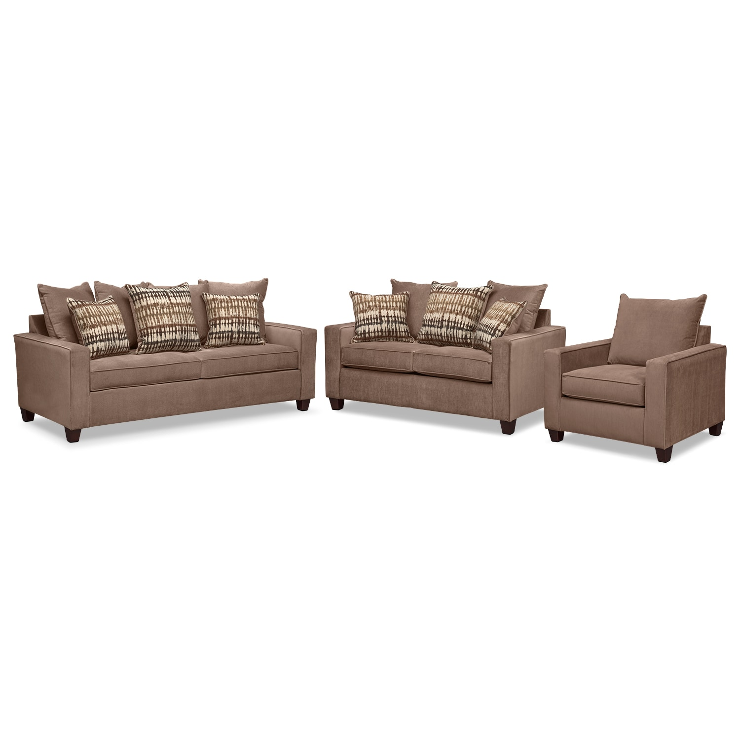 Living Room Furniture - Bryden Sofa, Loveseat and Chair Set - Chocolate