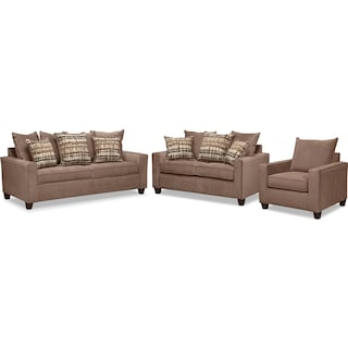 Bryden Queen Memory Foam Sleeper Sofa, Loveseat and Chair Set - Chocolate