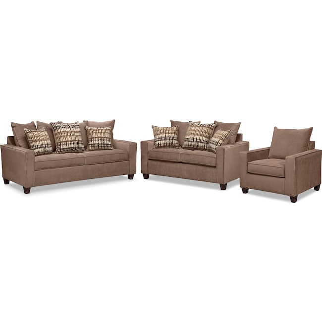 Living Room Furniture - Bryden Queen Memory Foam Sleeper Sofa, Loveseat and Chair Set - Chocolate