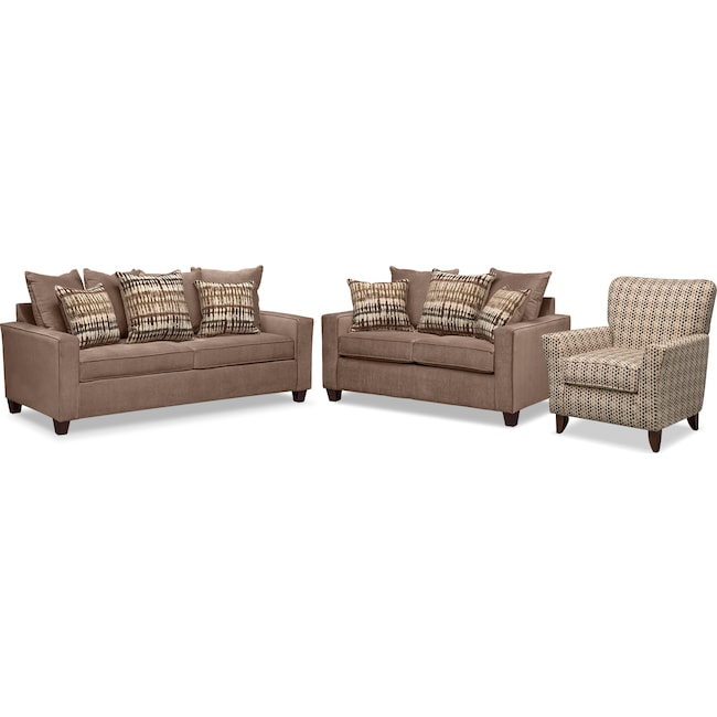 Living Room Furniture - Bryden Sofa, Loveseat and Accent Chair Set - Chocolate