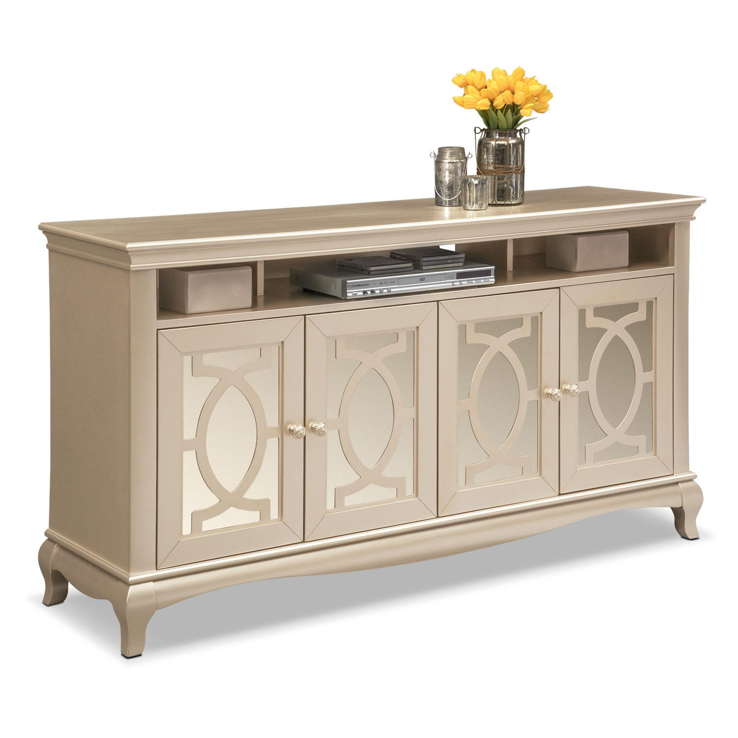 Allegro TV Credenza - Platinum | American Signature Furniture