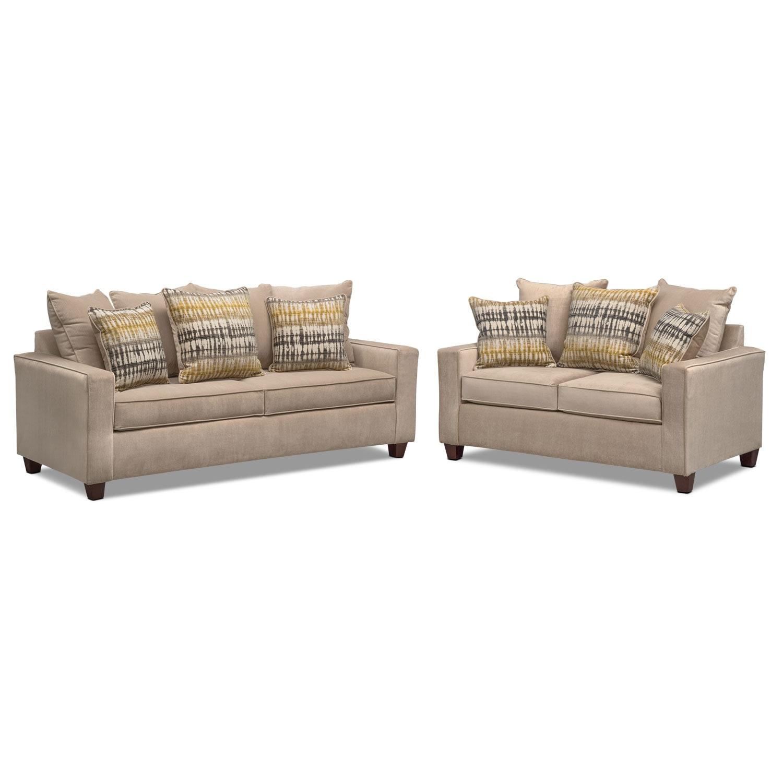 Bryden Queen Innerspring Sleeper Sofa and Loveseat Set - Beige