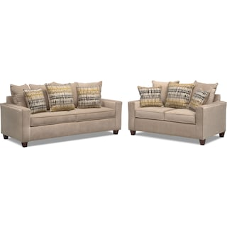 Bryden Queen Innerspring Sleeper Sofa and Loveseat Set - Beige