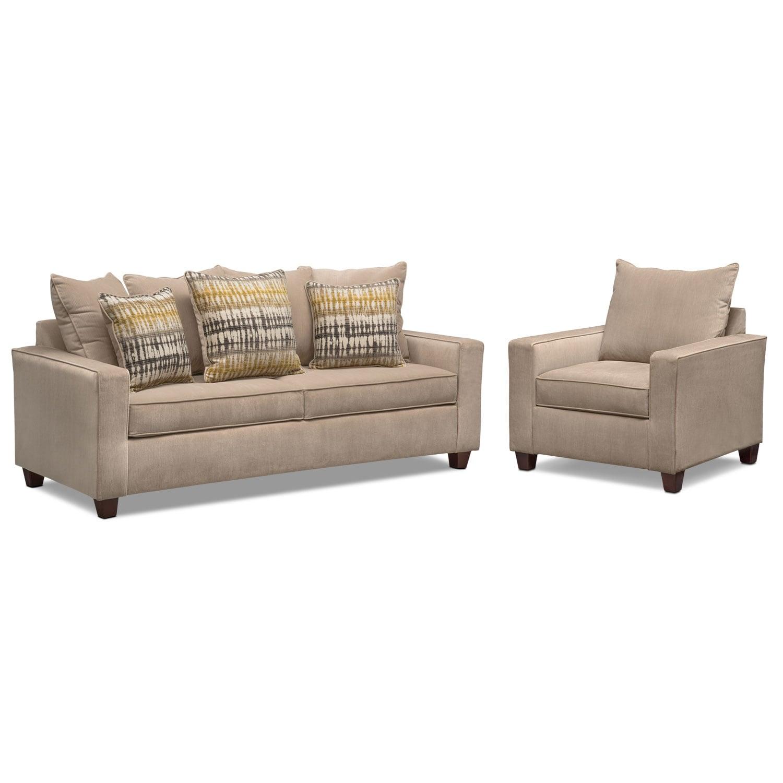 Bryden Queen Innerspring Sleeper Sofa and Chair Set - Beige