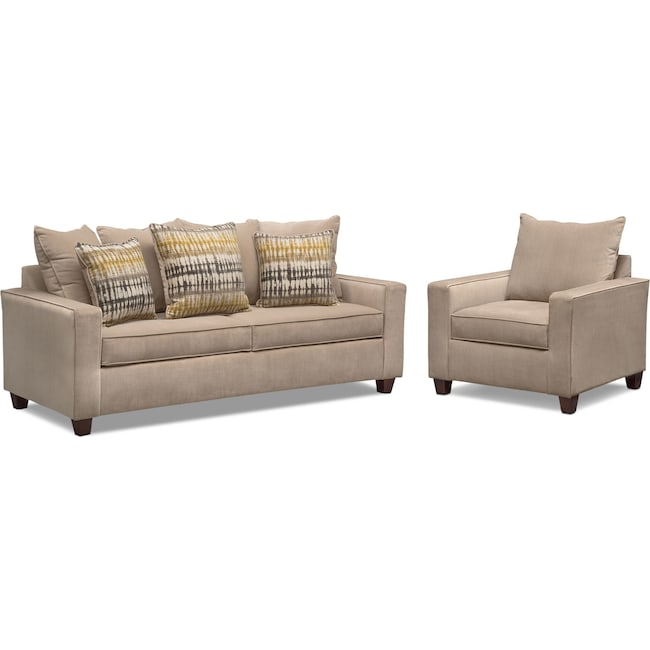 Living Room Furniture - Bryden Queen Sleeper Sofa and Chair Set