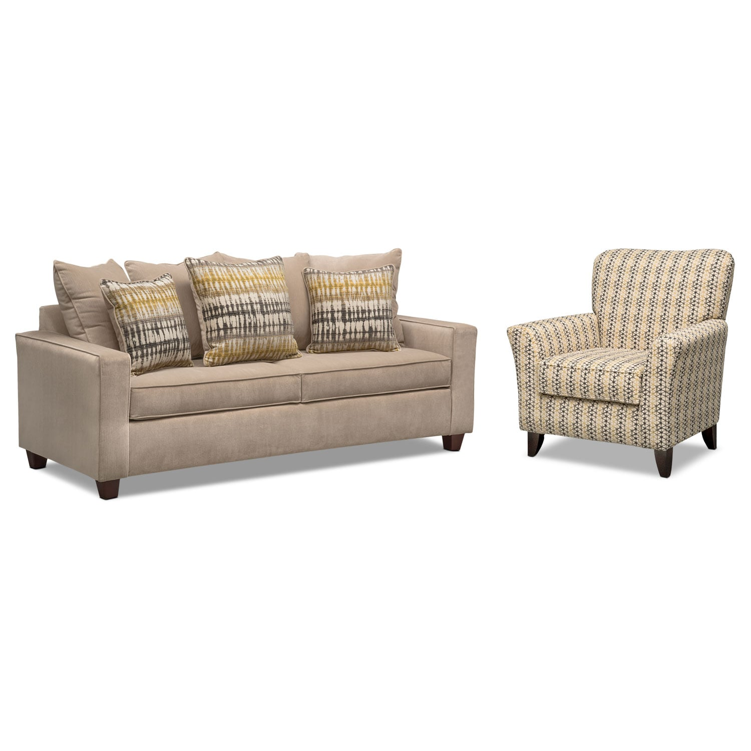 Living Room Furniture - Bryden Queen Memory Foam Sleeper Sofa and Accent Chair Set - Beige