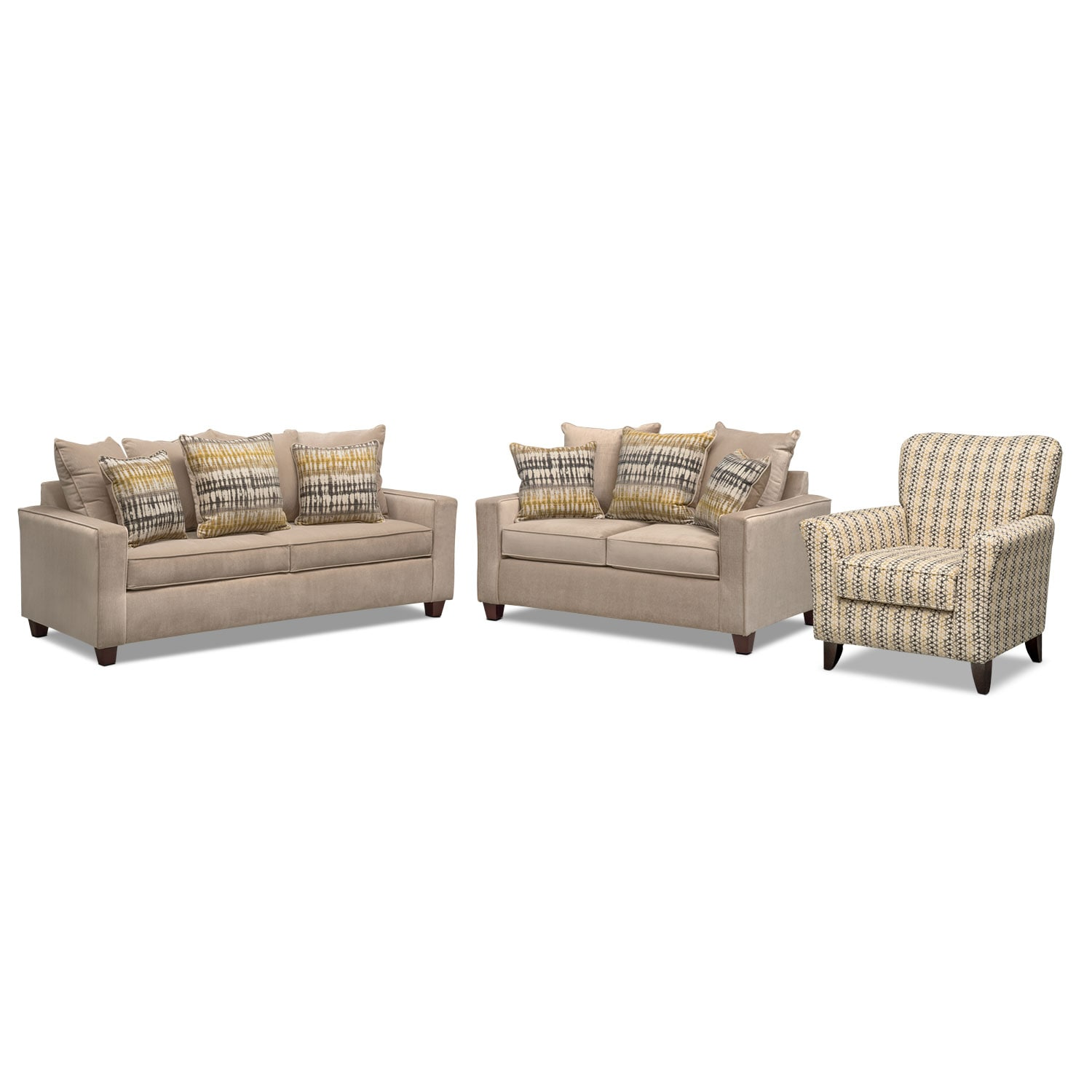 Living Room Furniture - Bryden Sofa, Loveseat and Accent Chair Set - Beige