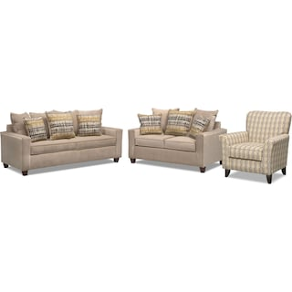 Bryden Queen Innerspring Sleeper Sofa, Loveseat and Accent Chair Set