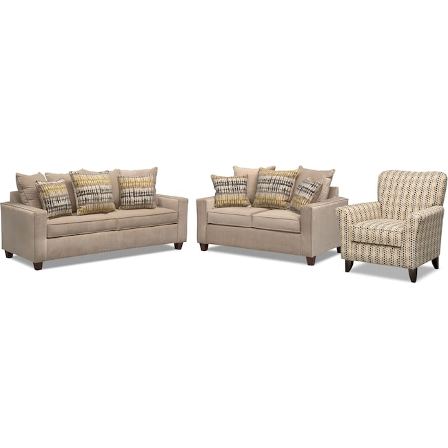 Living Room Furniture - Bryden Queen Innerspring Sleeper Sofa, Loveseat and Accent Chair Set - Beige