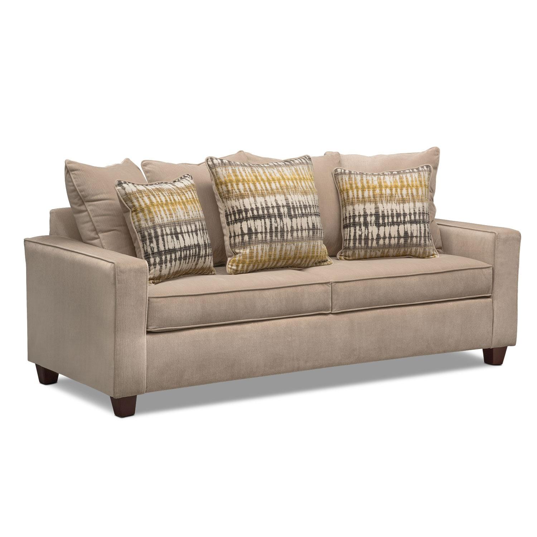 Living Room Furniture   Bryden Queen Memory Foam Sleeper Sofa   Beige