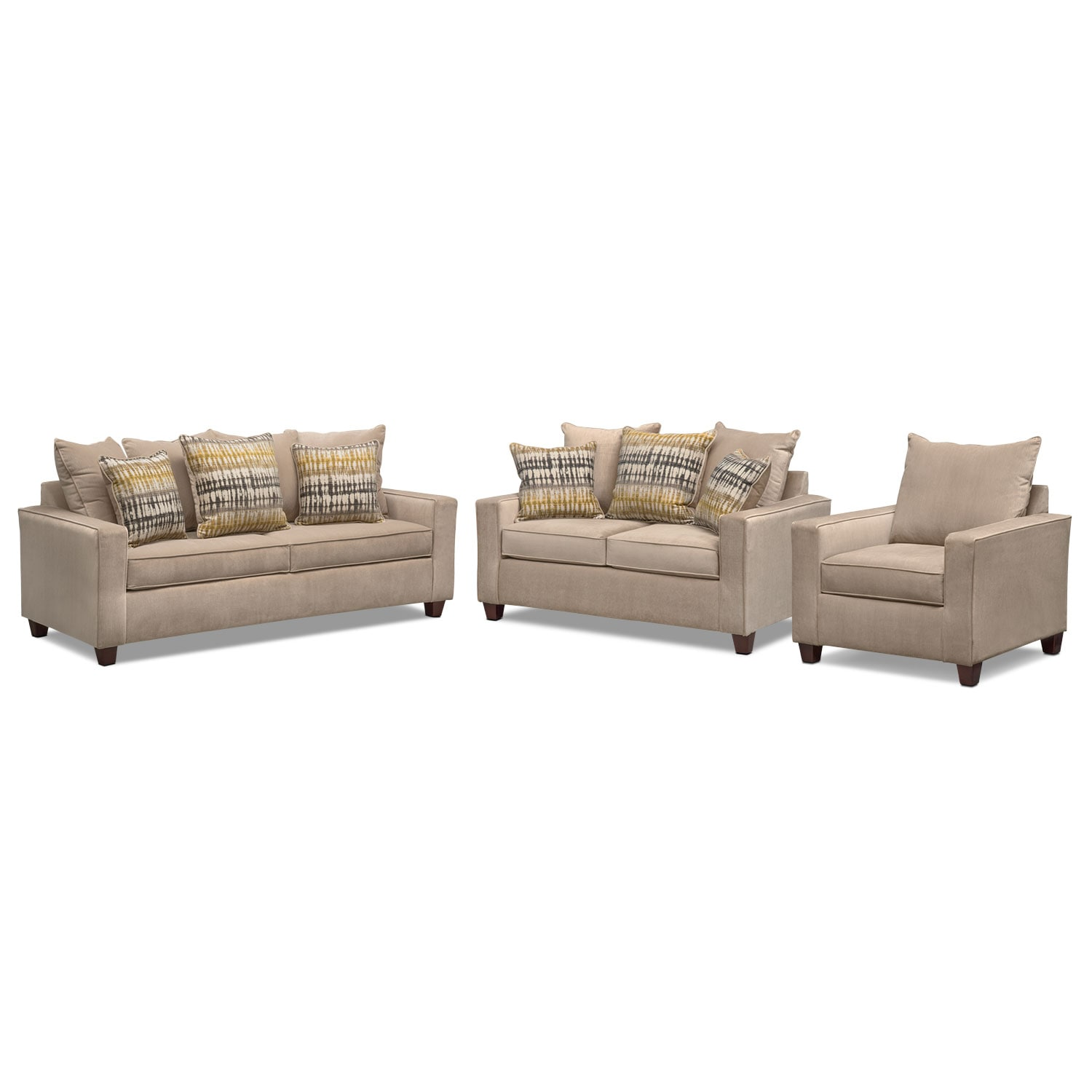 Living Room Furniture - Bryden Queen Innerspring Sleeper Sofa, Loveseat and Chair Set - Beige