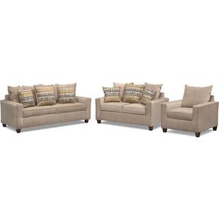 Bryden Queen Memory Foam Sleeper Sofa, Loveseat and Chair Set